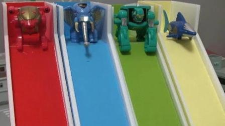 百兽战队动物机器人在车库外变形