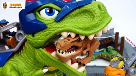 机器恐龙大战食肉恐龙 变形警车珀利得救了!