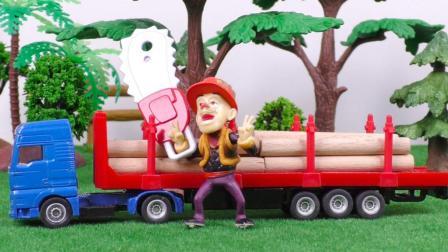 光头强偷偷砍树 抓木机运木车合金汽车玩具