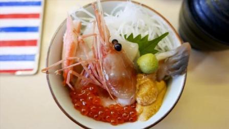 日本街头小吃——牡蛎、蟹、羊肉、生鱼片、日本北海道瓜
