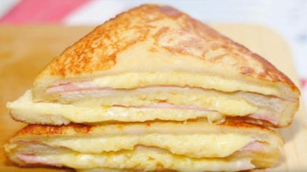 上班族快速早餐, 自己做火腿芝士三明治, 营养又美味