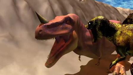 史前巨兽棘背龙大战霸王龙 恐龙动漫