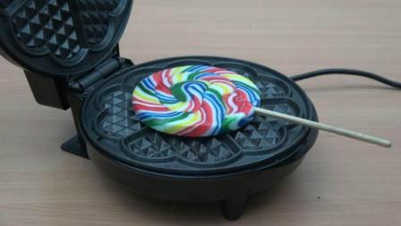 当棒棒糖遇到电饼铛会怎样? 网友: 我以后再也不吃棒棒糖了!