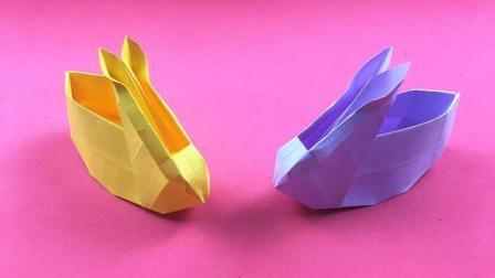 快速学会这个可爱的小兔子收纳盒, 就不用花钱买了, 折纸视频教程