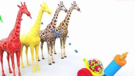早教动画: 好有趣的长颈鹿小动画 亲子视频学颜色