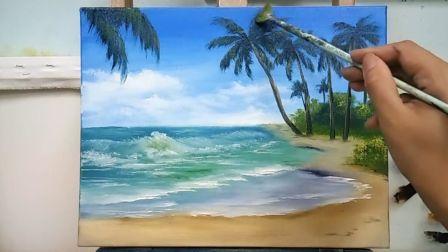 《夏季的海滩》基础油画教程示范,疯油画TV系列24