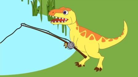 恐龙动漫: 霸王龙钓鱼, 甲龙三角龙来帮忙