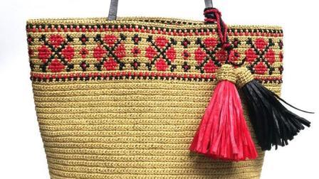 第130集 菱格绣花的棉草大包(上)-许红霞教编织视频