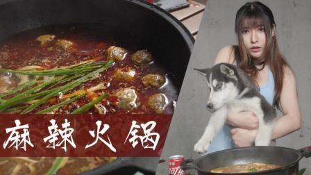 入江闪闪: 深夜厨房之麻辣火锅, 快速备好荤素食材想吃就涮起来, 哈士奇嘴馋太辣很无语