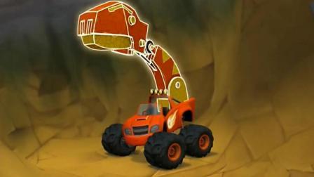 旋风战车队: 飚速变身成一台暴龙粉碎机, 它咬碎了几十个岩石!