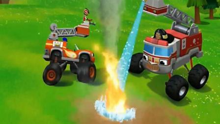 旋风战车队: 森林大火需要5辆消防车, 飚速变成消防车营救大火!