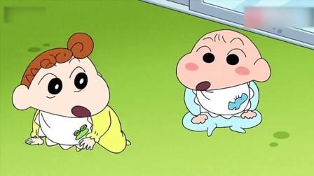 蜡笔小新: 小新照顾两个小婴儿, 心好累哦
