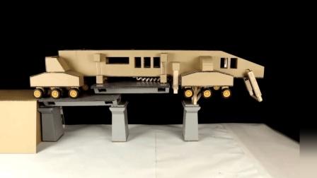 科学手工教程-如何用纸板制作架桥机机械手工制作指南