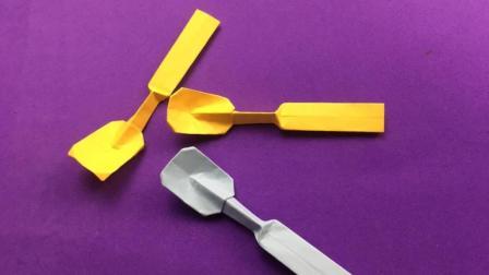 教你用纸折出可爱迷你的小勺子, 送给孩子能玩儿半天, 折纸视频
