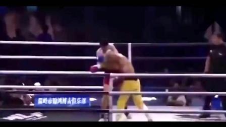 像中弹一样被KO, 中国拳王二番战又把泰拳王打趴