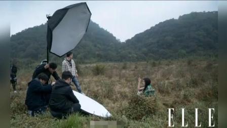 """杨幂冒雨森林中拍时尚写真, 温度太低美腿冻出""""鸡皮"""""""