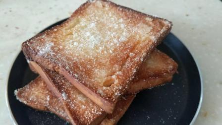 4片面包适量黄油还有白砂糖, 不一样的早餐, 香甜奶酥面包片