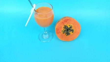 牛奶木瓜汁 女生最爱冷饮 炎热的夏季喝上一杯清凉解暑非常舒服