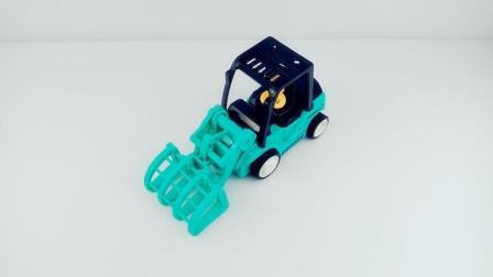 认识工程叉木机 儿童工程车益智玩具