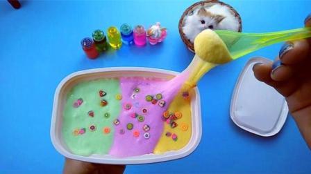 2种材料DIY三色水果冰激凌泥, 无硼砂无胶水, 厨房材料系