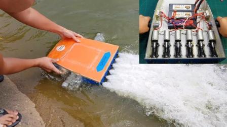 小伙自制水上推进器带6个微型喷气发动机, 这动力能带人跑多快?