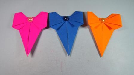 手工折纸书签, 3分钟用一张纸就能折出漂亮的蝴蝶结书签
