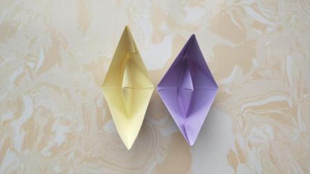 儿童折纸: 简单的小纸船的折法, 用油纸折可以在水上漂了!