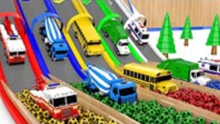 玩具视频  卡通工程车 挖掘机卡车铲车 一起到染料池里染色