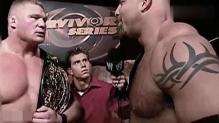 WWE野兽布洛克嚣张之时第一次见到战神高柏, 立马怂了!