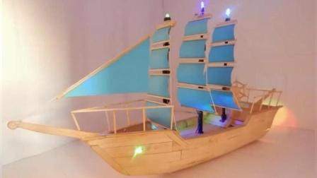 雪糕棍还随地扔掉吗? 动手造艘帆船吧! 环保还美观。