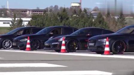 10辆汽车一起比赛, 场面太壮观, 道奇奥迪宝马兰博基尼谁更快!