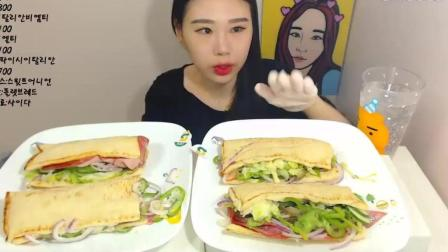 韩国大胃王卡妹, 吃4个培根蔬菜三明治, 大口吃的真过瘾