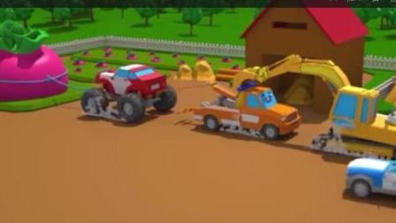 赛车总动员: 挖掘机吊车警车越野车一起拔萝卜