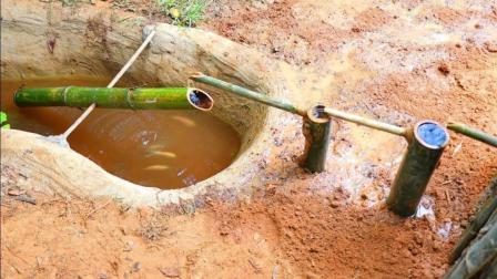 生存哥改进养鱼池, 打造了供氧和活水系统, 这样鱼才能活得更好