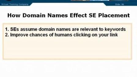 搜索引擎优化教程第四章How Domain Names Effect Placement1