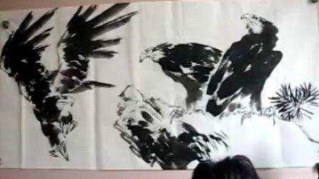 宋鲁民画三鹰图视频2