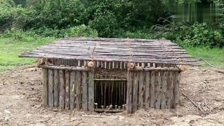 野外求生, 生存哥搭建地下庇护所, 原木做结构, 坚固的必要不要滴