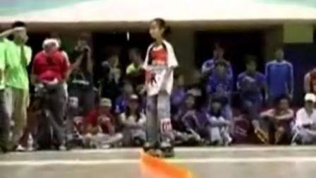 12岁小女孩滑轮高超表演90分]