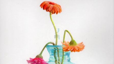 彩铅画 玻璃花瓶