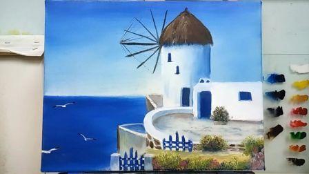 《希腊建筑上集》基础油画教程示范,疯油画TV系列25