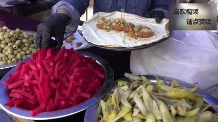 看看国外的小吃摊, 一份卷饼里面, 放了多少配菜, 真实在