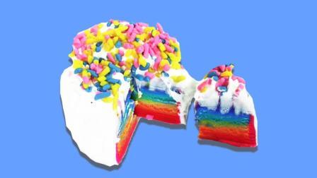 月采超Q食玩玩具 129 粘土制作七彩奶油蛋糕 手工食玩diy