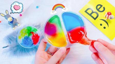无硼砂彩虹液态玻璃水晶泥, 像独角兽史莱姆般美丽, 不用加水