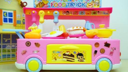 玩乐三分钟 韩国小豆子的餐饮车过家家玩具