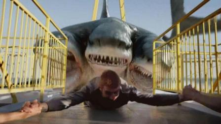 海洋垃圾导致鲨鱼变异, 长出三个头来专门袭击游船, 枪都伤不了它!