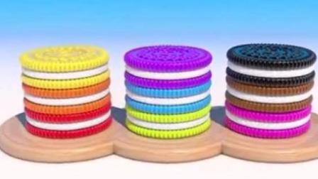 做彩色的奥利奥夹心饼和彩色冰激凌学颜色