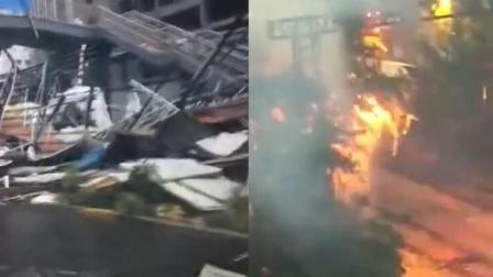 青岛遭妖风冰雹肆虐 电线被树压断爆燃起火