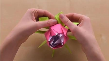 简单折纸, 立体玫瑰花折纸, 5分钟学会, 做出来开心一整天