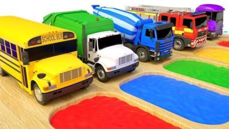 给大货车涂上彩色颜料学颜色