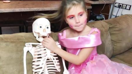 爸爸偷吃宝宝饼干, 被宝施魔法变成骨头, 有点无奈